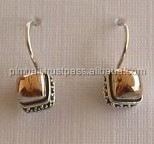 E532-gold and silver earrings with Bali granulation design