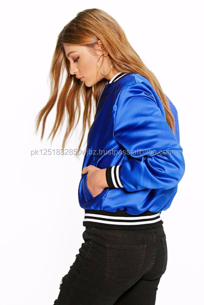 Wholesale high quality satin body and synthetic leather sleeves varsity jacket Cheap custom made letterman, bomber jackets