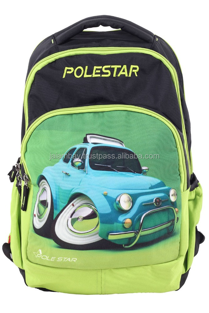 2017 Customized color cartoon picture kids backpack Polyester material Digital Printing new design