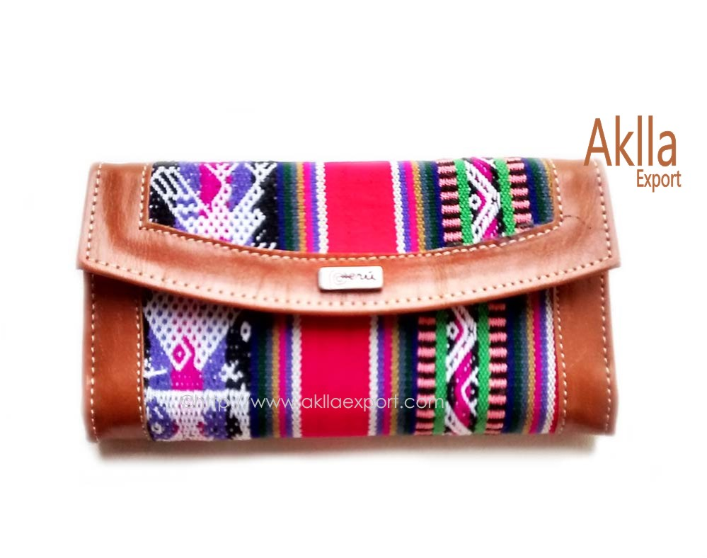 Wallet of Bio Leather and Aguayo Peruvian Blanket