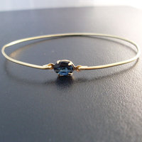 Sapphire Quartz Bangle , 925 Sterling Silver Bangle , Gemstone Bangle