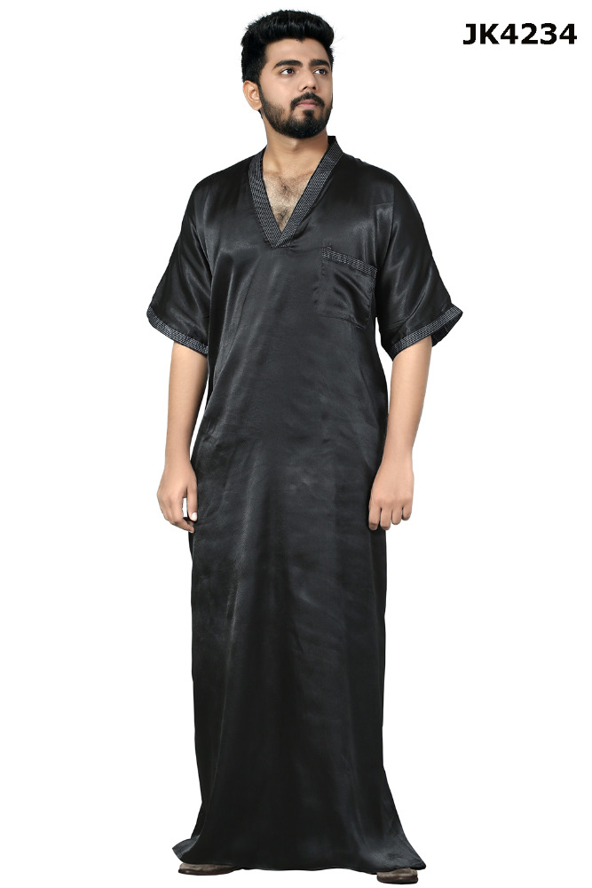 Men's Poly Satin Black Relax Fitting Jubba / Casual Wear V-Neck Half Sleeves Jubba/ Casual Daily Wear Arabic Style Kurta For Men