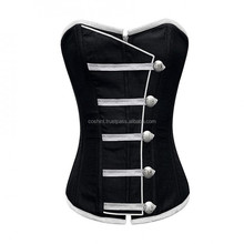 COSH INTERNATIONAL: Ci-00500 Overbust Black Satin Army style Corset Supplier