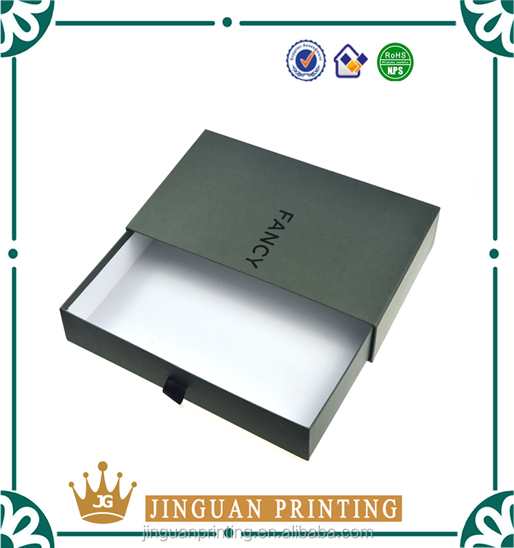 custom luxury black cardboard drawer gift box sliding packaging box