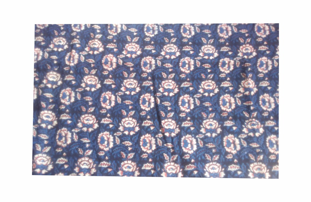 indian rose flower indigo blue hand printed cotton fabric