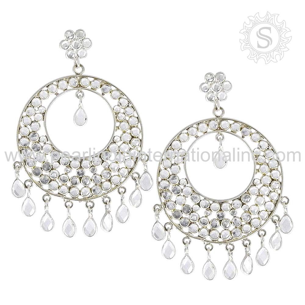Shiny Crystal 925 Silver Jewelry Solid Silver Earring Sterling Silver Jewellery Exporters
