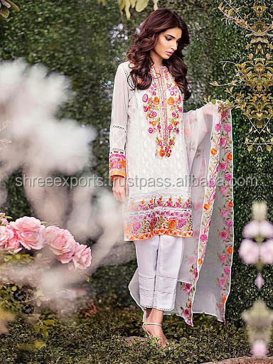 Off White Georgette Pakistani Pant Style Churidar Suit