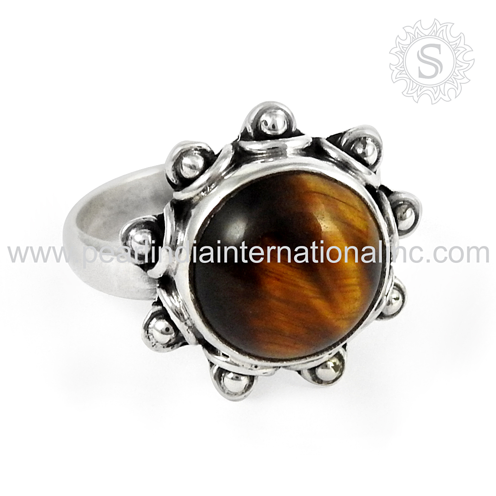 Indian Silver Jewelry brighten Tiger Eye Ring Beautiful 925 Sterling Silver Jewelry Wholesale Silver Jewelry