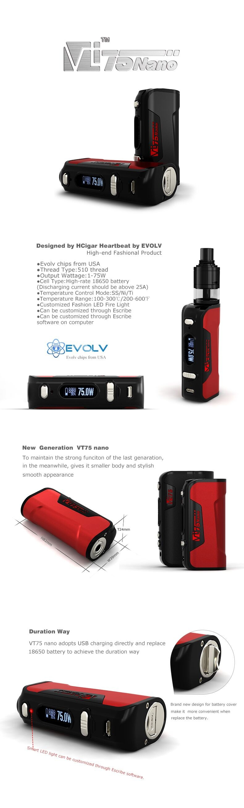 Authentic HCigar VT75 Nano 75W box mod with wholesale price