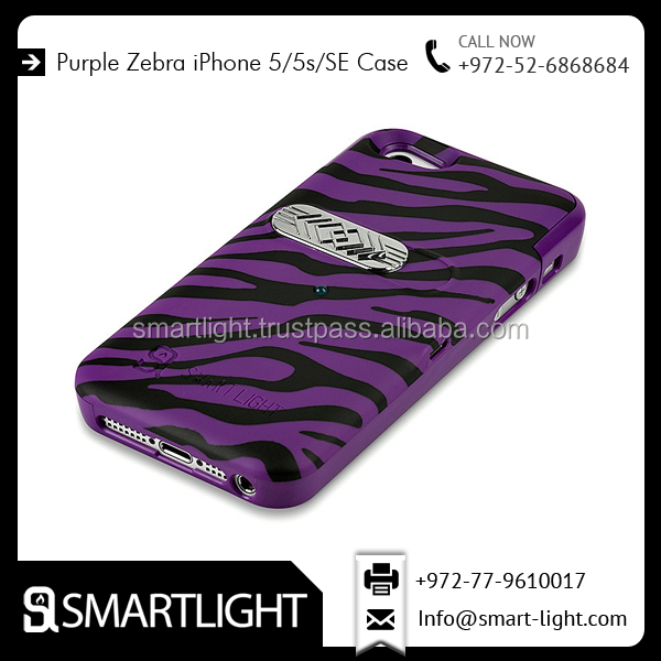 Hard Material Unbreakable Purple Zebra Design Cigarette Cover Lighter Case for IPhone 5/5s