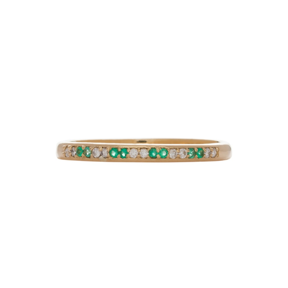 18k Gold Emrald Diamond Alternate Eternity Ring Band