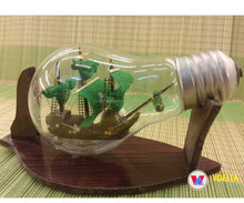 Wooden Ship in Bottle/ Vietnam Crafted Ship in Light Bulb- unique wooden ship model - Souvenir, Decoration - Wholesale