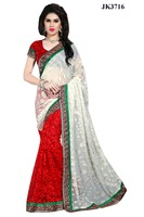 Women's Brasso Red And Off White Patch Border Work Designer Saree