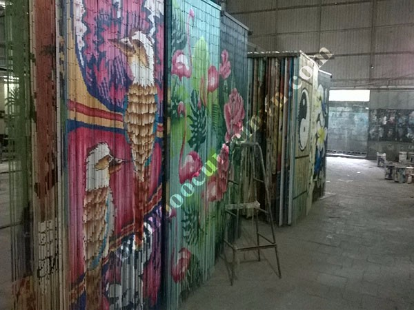 Ready to use natural bamboo bead curtain hand painted home sweet home
