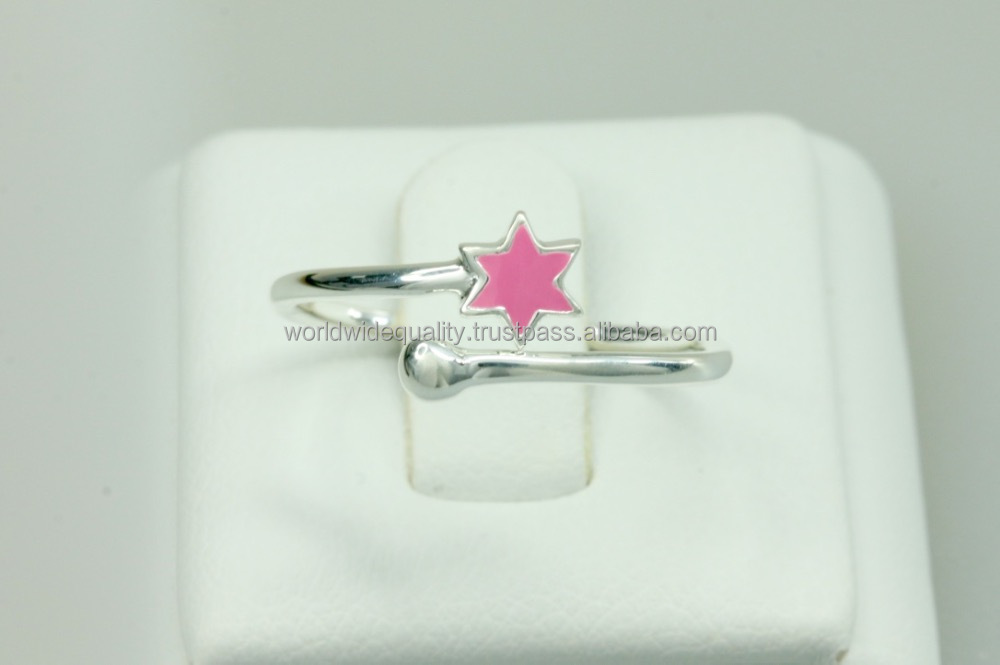PinkyStar 935 Silver open ring enamel jewelry mother daughter jewelry
