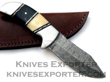Custom Handmade Damascus Steel Skinner Knife, Bone & Horn Handle