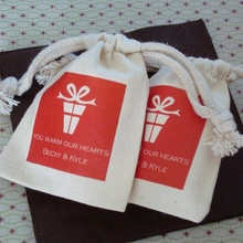 Customized Cotton Muslin Drawstring Bags