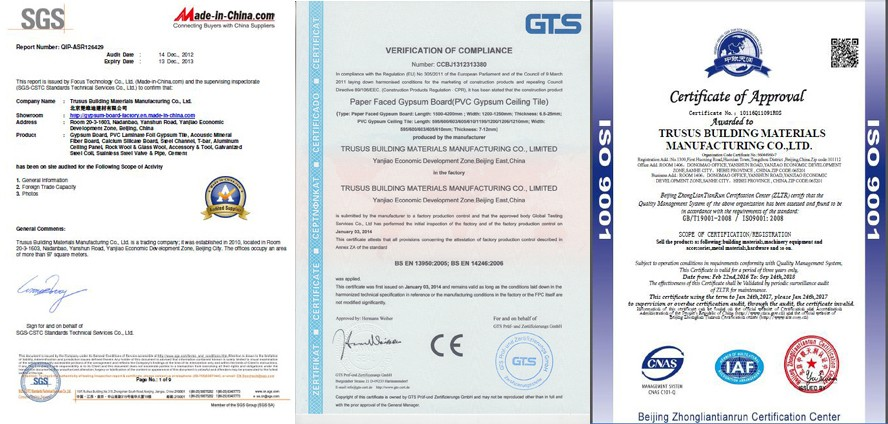 CE AND ISO Approved Pure Natural Plasterboard