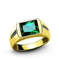 MENS EMERALD RING 3.40ctw REAL 14k Yellow Gold Gemstone Pinky Ring all sizes