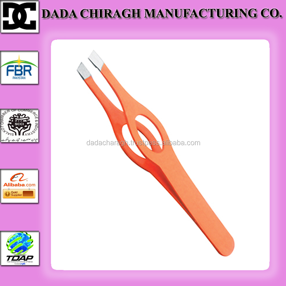surgical beauty Tool slanted Tip Stainless steel orange with hole tweezers