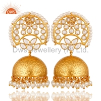 Traditional Cz & Pearl Gold Plated Silver Gemstone Jhumkas Earrings Manufacturer of Indian Designer Jewelry