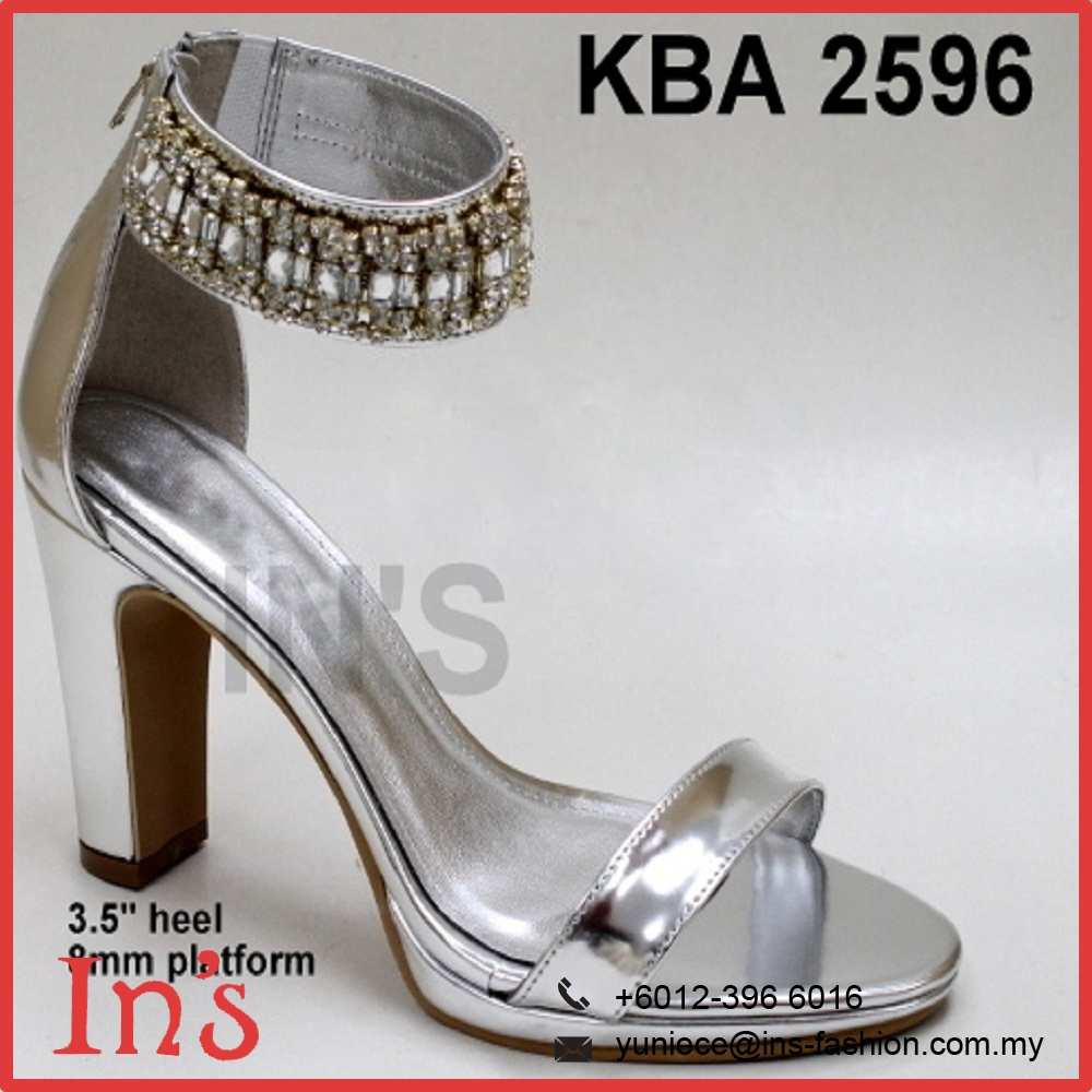 Malaysia Bridal Ladies High Heels Shoes in Silver