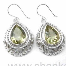 Sale On Alibaba Website 925 Silver Jewelry Green Amethyst Earring Indian Silver Jewelry Supplier