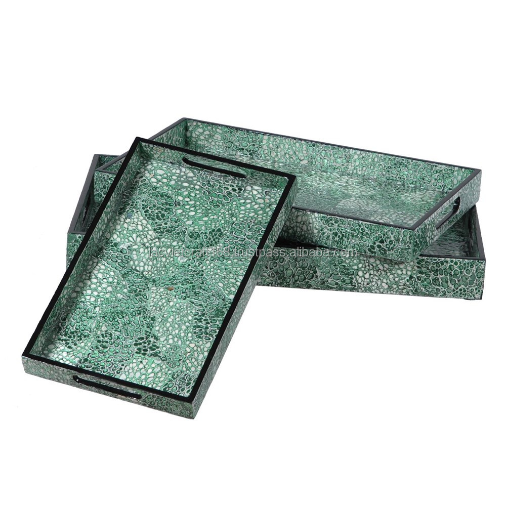 High quality best selling eggshell snake pattern rectangle green lacquer tray from Vietnam