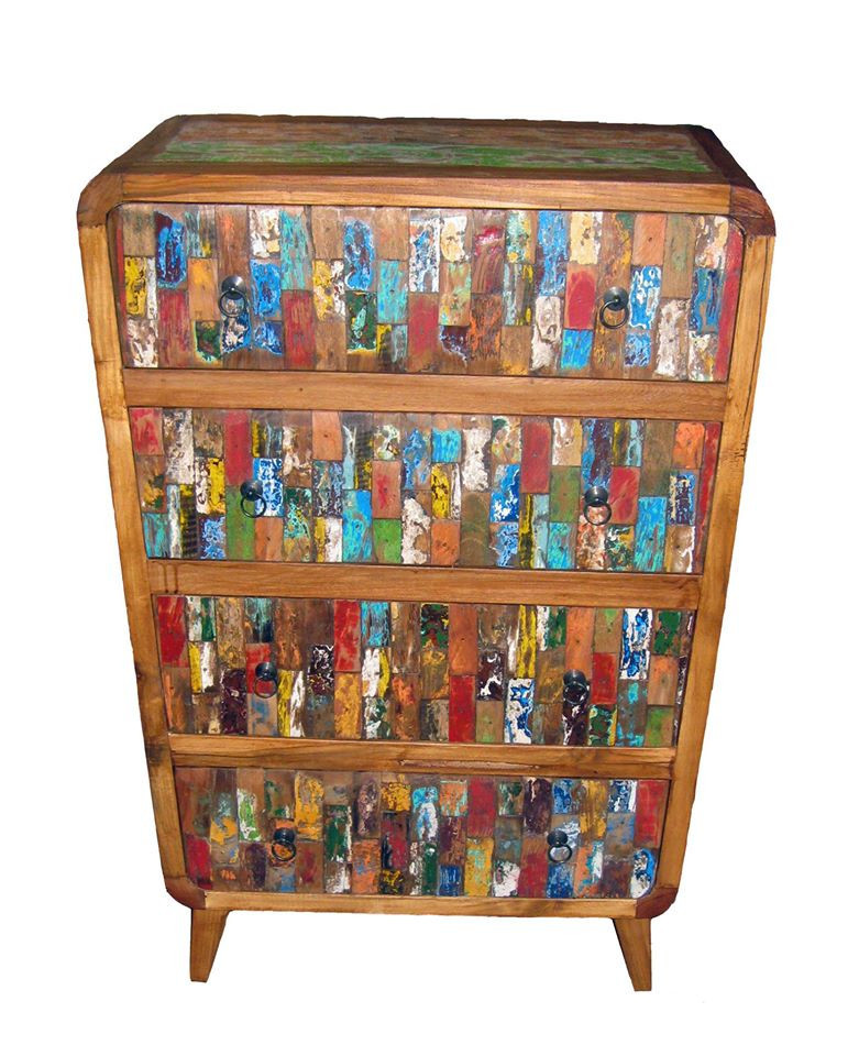 "Cabinet ""Colorful"" -Recycled, Reclaimed- Boat Furniture"