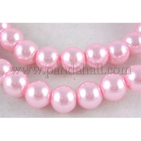 1Strand Glass Pearl Beads Strands, Pearlized, Round, Pink, Size: about 8mm in diameter, hole: 1mm, about 110pcs/strand, 32""