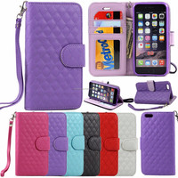 Quilted Flip PU Leather ID Wallet Case Cover with Strap For iPh 6 4.7