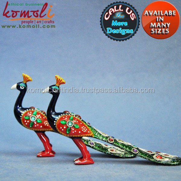 Vibrant & Colorful peacock decorative items of Size, Design & Color - Enamel Work - Metal Handicraft Handmade Peacock Statue