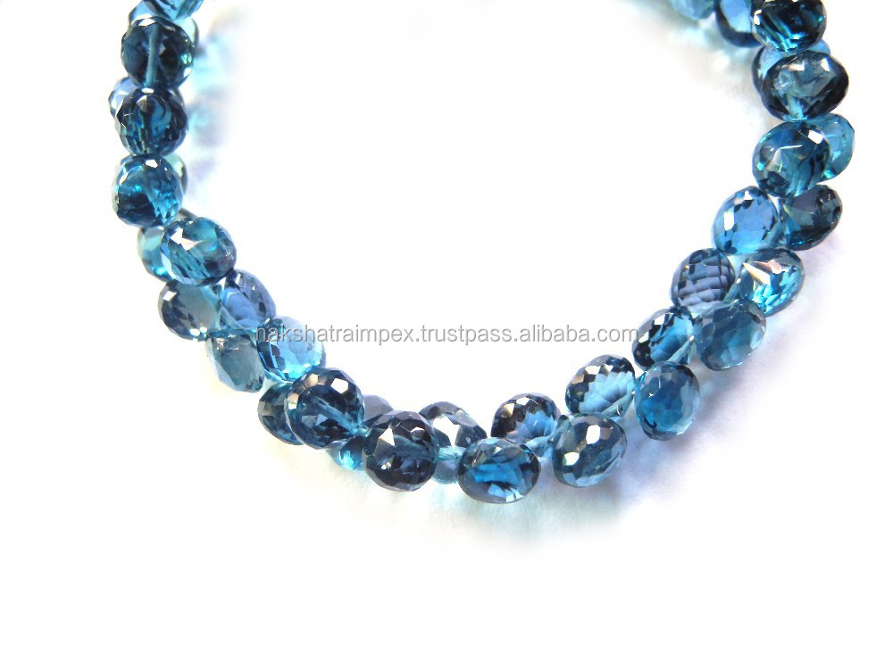 Good Quality Natural London Blue Topaz Onion Faceted Loose Beads Strand