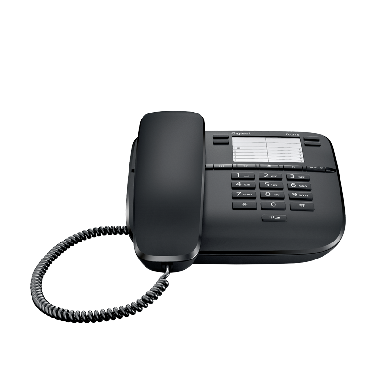 Corded telephone with 10 speed dial numbers GIGASET DA310 Black White colors