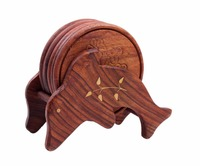 Hand Carved Wooden Drink Coasters Set of 6 in a Dolphin Shaped Holder, Bar Dining Accessories