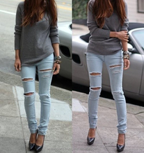 denim Jeans pants - Women High Quality camisa jeans distressed long pants ladies