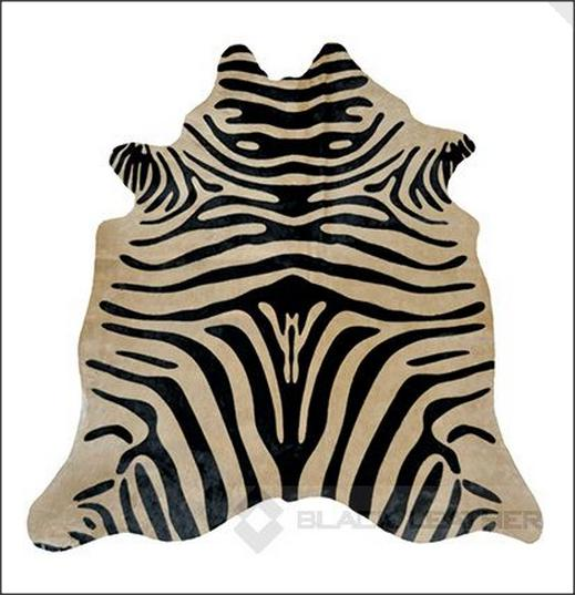 Black Zebra on Caramel Cowhide Rug