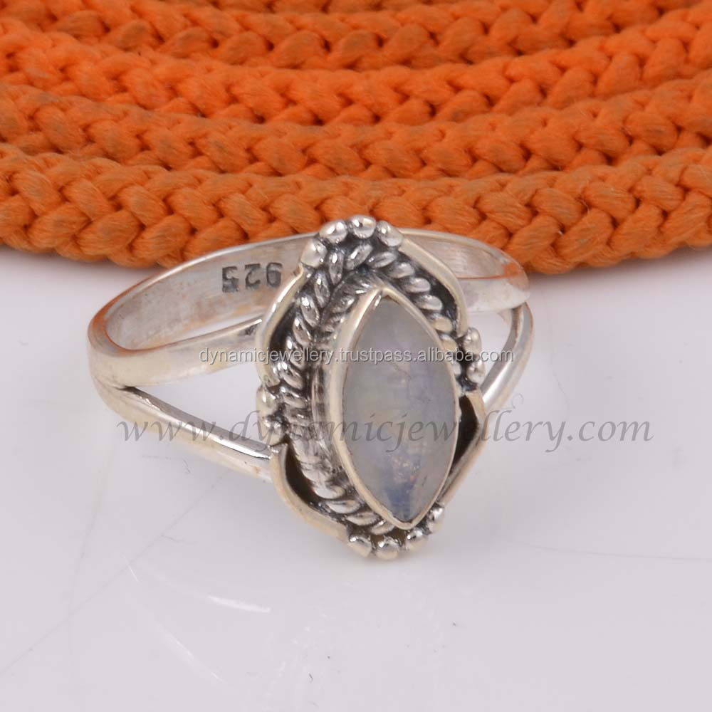 Wholesale Rainbow Moonstone 925 Sterling Silver Ring R108-12