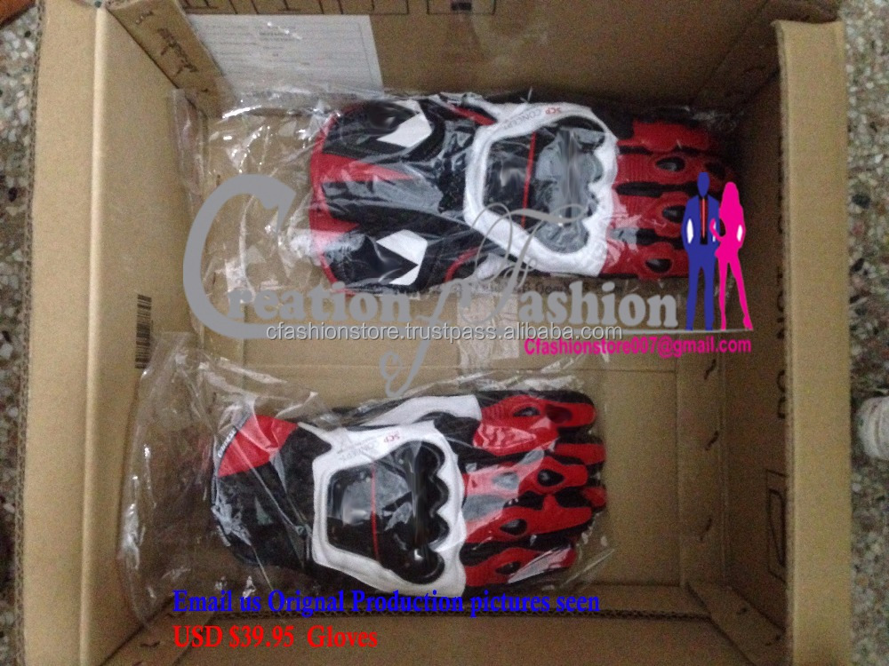 RED/ LEATHER SPORT MOTORCYCLE GLOVE 2 USD $39.95 FOB