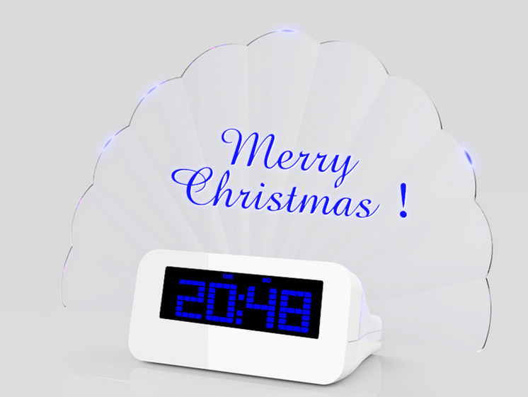 Low price Fan shape modern led color change digital message board alarm clock display battery operated