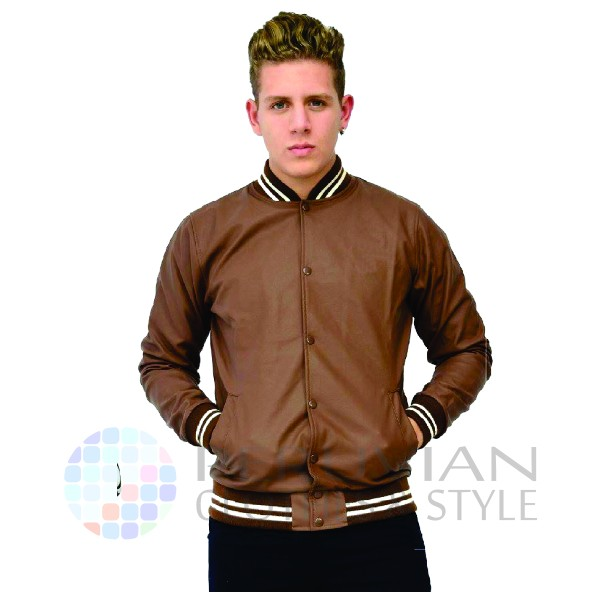 High Quality Mens Plain Bomber Jacket | Synthetic Leather Material