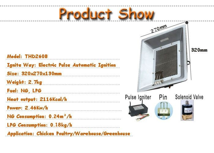 Poultry gas heater for chicken farm house with automatic controller THD2608