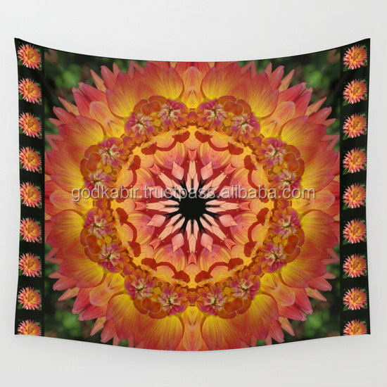 Indian round mandala wall tapestry nature photograph cottage garden peach apricot bedsheets