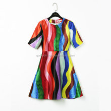 New fashion pattern rainbow striped dress, parrot print dress, high waist dress with pockets printed dress