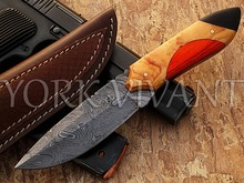 York Vivant-Custom Handmade Damascus Steel Skinner fixed blade Knife L7-4 OLIVE WOOD, TINTED PAKKA WOOD & BUFFALO HORN HANDLE