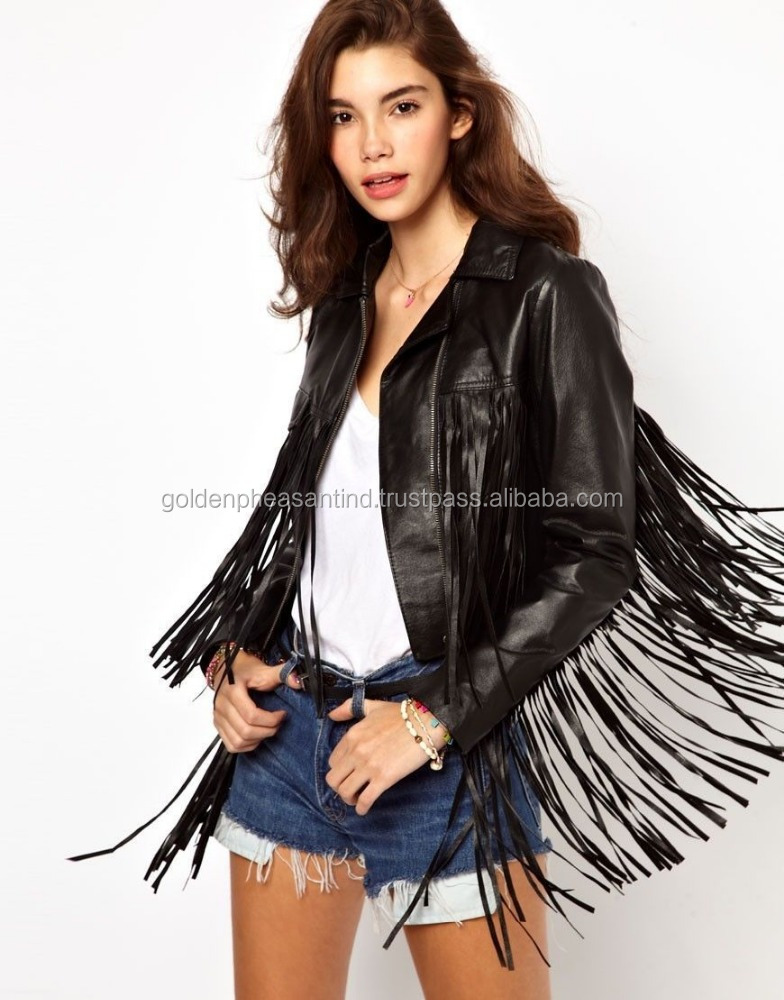 Womens Black Studded Back Fringe Biker Leather Jacket made with Real Leather