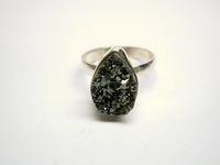 Coated Black Diamond Druzy Tear Drop Sterling Silver Jewelry, 925 Solid Sterling Silver Druzy Ring, Designer Druzy Jewelry