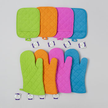 OVEN MITT 12IN POTHOLDER/7X9IN 4AST SUMMER COLORS/HANGTAG #G25643N