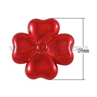 Plating Acrylic Beads, Clover, Red, 26x26x6mm, Hole: 1mm PACR-659-1