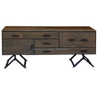 Sheesham Wooden TV Stand with iron legs